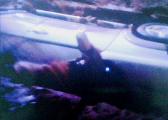La Toyota RAV4 gisant dans le fossé. Ph B.B.