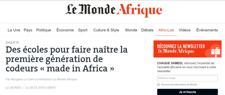 Le titre de l'article sur Le Monde Afrique.
